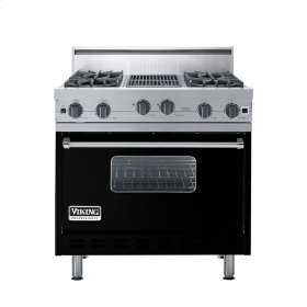 "Black 36"" Open Burner Range - VGIC (36"" wide, four burners 12"" wide char-grill)"