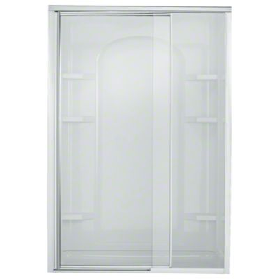 """Vista Pivot™ II Shower Door - Height 65-1/2"""", Max. Opening 48"""" - Silver with Smooth/Clear Glass Texture"""