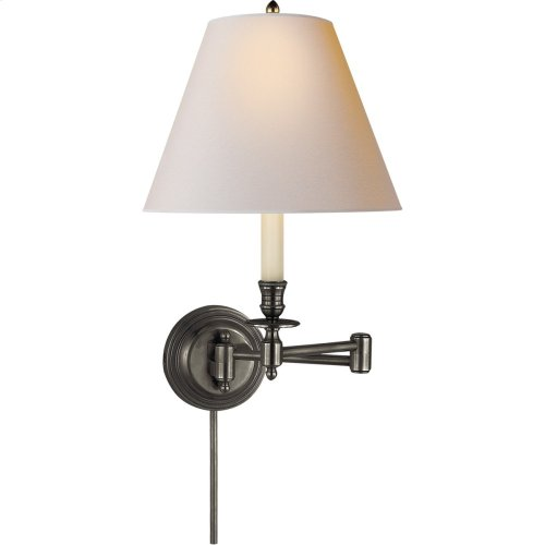 Visual Comfort S2010BZ-NP Studio Candle Stick 19 inch 75 watt Bronze Swing-Arm Wall Light in Natural Paper