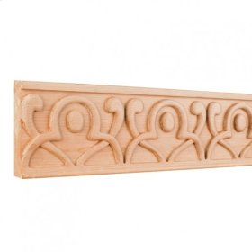"""4"""" x 7/8"""" x 96"""" Hand Carved Geometric Frieze Moulding. e Hardware Resources, Inc. Species: Alder. Priced by the linear foot and sold in 8' sticks in cartons of 80'."""