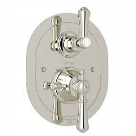 Polished Nickel Perrin & Rowe Georgian Era Oval Thermostatic Trim Plate With Volume Control with Georgian Era Solid Metal Lever