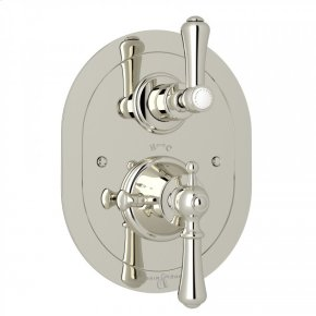 Polished Nickel Perrin & Rowe Georgian Era Oval Thermostatic Trim Plate With Volume Control with Georgian Era Solid Metal Lever