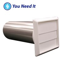 "4"" Louvered Dryer Vent Hood Assembly, White Hood"