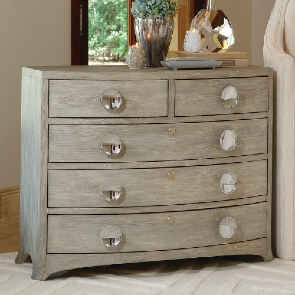 Bow Front Five Drawer Dresser-Grey