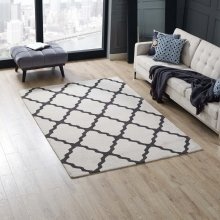 Marja Moroccan Trellis 5x8 Area Rug in Ivory and Charcoal