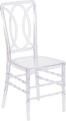 Flash Elegance Crystal Ice Stacking Chair with Designer Back