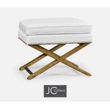 Rectangular Light Brown Chestnut Stool, Upholstered in COM