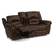 Downtown Fabric Power Reclining Loveseat with Console and Power Headrests
