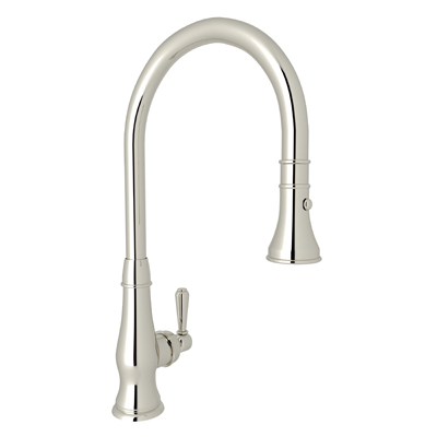 Polished Nickel Country Patrizia Pull-Down Kitchen Faucet with Country and Classic Metal Lever