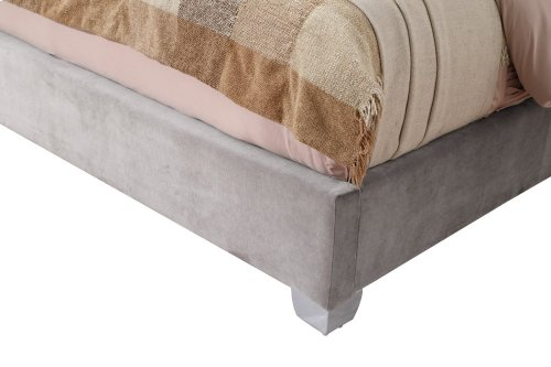 Emerald Home Lacey Upholstered King Footboard Silver Gray B132-12fbr-03