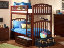 Richland Bunk Bed Twin over Twin with Raised Panel Bed Drawers in Walnut