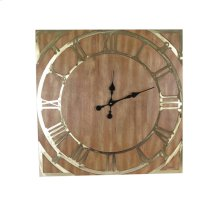 Wood Wall Clock, Brown, Window Box