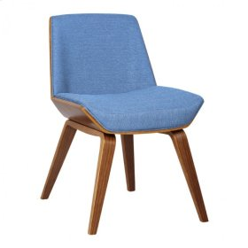 Armen Living Agi Mid-Century Side Chair in Blue Fabric with Walnut Wood Finish