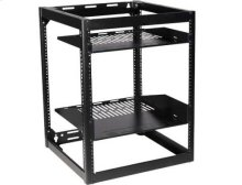 "Black 26"" Tall AV Rack 15U Stackable Skeleton Rack"