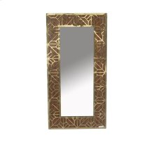 Wood/gold Wall Mirror, Metal Pattern, Wb