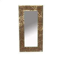 Wood/gold Wall Mirror, Metal Pattern, Wb