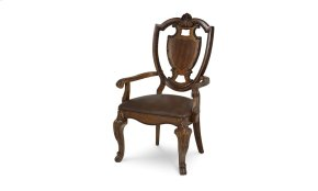 Old World Shield Back Arm Chair Leather Seat