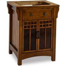 """26-1/2"""" vanity base with Chestnut finish and amber-colored mica glass door inserts."""