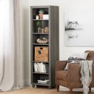 Narrow 6-Shelf Bookcase with Rattan Basket - Gray Maple and Beige Product Image