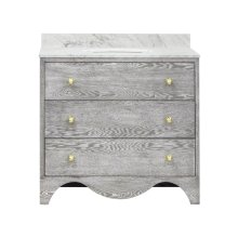 "Bath Vanity With White Marble Top In Grey Cerused Oak With Antique Brass Hardware Features: - White Porcelain Sink Included - Optional White Carrara Marble Backsplash Included - for Use With 8"" Widespread Faucet (not Included) - Two Working Drawers"