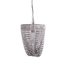 Hex Frame Greywash Beaded Chandelier. 60W Max. Plug-in with Hard Wire Kit Included.