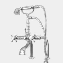 Butler Mill Deck Mount Telephone Tub Filler - Straight Legs with St. Michel Handle