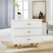 Linear Bedside Chest, Painted Buffed White. Gold Leaf Hardware.
