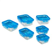 Set of Six Glass Food Storage Containers