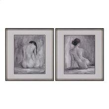 FIGURE IN BLACK AND WHITE I AND II - FINE ART PRINT UNDER GLASS