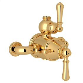 English Gold Perrin & Rowe Georgian Era Exposed Therm Valve With Volume And Temperature Control with Georgian Era Solid Metal Lever
