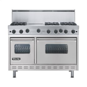 "Metallic Silver 48"" Open Burner Range - VGIC (48"" wide, six burners 12"" wide griddle/simmer plate)"