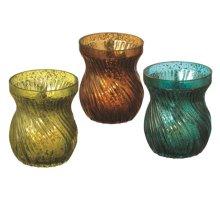 Swirl Mercury Glass Tealight Holder (3 asstd).