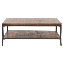 Pine Coffee Table with Black Iron Frame