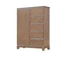 Vista - 5 Side Drawer 1 Door Chest Weathered Gray Finish