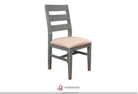 Chair w/Ladder back, fabric seat, Solid wood - Turquoise finish