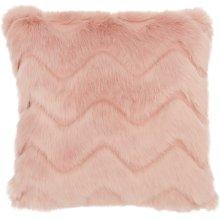 """Faux Fur Vv056 Blush 16"""" X 16"""" Throw Pillows"""