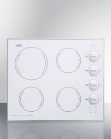 "24"" Wide 4-burner Radiant Cooktop Made In the Usa, With One Large 8"" Element and Three Standard Elements In Smooth White Ceramic Glass Finish"