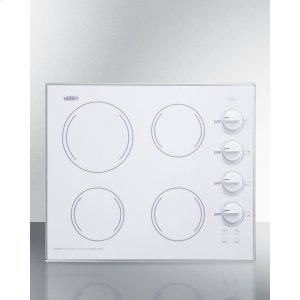 "Summit24"" Wide 4-burner Radiant Cooktop Made In the Usa, With One Large 8"" Element and Three Standard Elements In Smooth White Ceramic Glass Finish"