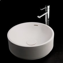 """Vessel Bathroom Sink made of solid surface, with an overflow and decorative drain cover (column sold separately), 16 1/2""""DIAM x 6 1/2""""H"""
