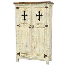 "White : 35"" x 16"" x 58"" White 2 Door Cabinet W/Cross"