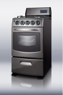 "20"" Wide Gas Range With Sealed Burners, Electronic Ignition, Oven Window, Gray Finish, and Black Cabinet"