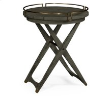 Round Folding Grey & Antique Brass Tray End Table