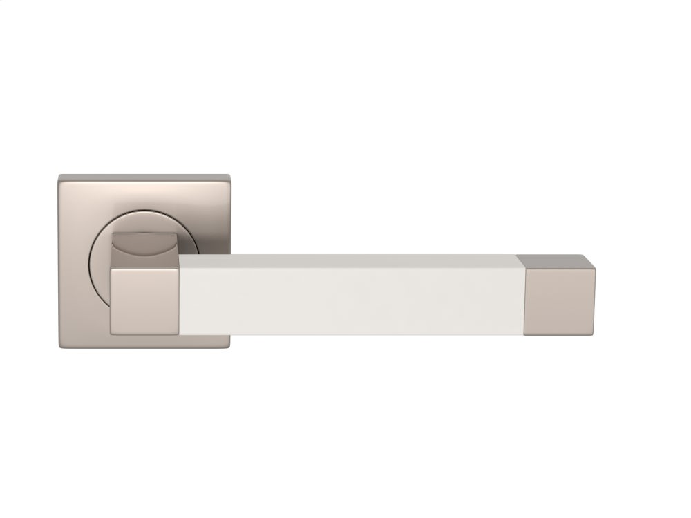 Square Stitch In Recess Leather In White (special Order) And Satin Nickel