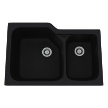Matte Black Allia Fireclay 2 Bowl Undermount Kitchen Sink