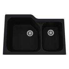Matte Black Allia Fireclay 2 Bowl Undermount Kitchen Sink