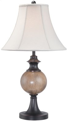 Table Lamp - Dark Brown/off-white Fabric Shade, E27 Cfl 23w