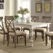 Aberdeen - Rectangular Dining Table - Weathered Worn White Finish Product Image
