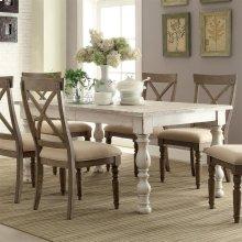Aberdeen - Rectangular Dining Table - Weathered Worn White Finish