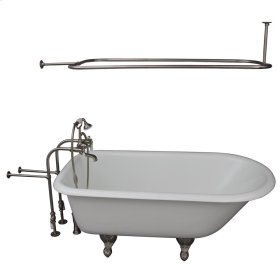 """Brocton 68"""" Cast Iron Roll Top Tub Kit - Brushed Nickel Accessories - White"""