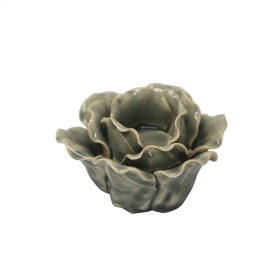 "Ceramic 4.5"" Rose Tealight Holder, Lt Blue"